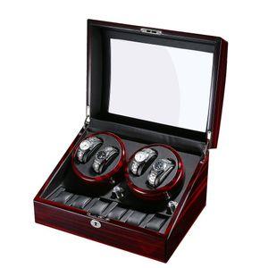 Automatischer Uhrenbeweger für 10 Uhren, Luxus-Design Sandelholz + Kunstleder + Glas, schwarzer Uhrenbeweger staubdichte Box  selbstaufziehende mechanische Uhrenschatulle Uhrendisplay Aufbewahrung für Männer und Frauen Uhren