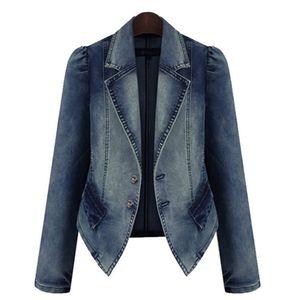 Plus Size Fashion Revers Frauen Casual Denim Zipper Blazer Vintage Jeans Jacke Größe:XXXXL,Farbe:Blau