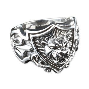 viva-adorno Gr. 65 (20,6 mm Ø) Herren Ring Löwe 3D Lilien Wappen Daumenring 925 Sterlingsilber SR21,