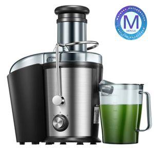 Entsafter, MEROUS-75mm Edelstahl-Entsafter, 800-W-Fliehkraftsaftpresse mit Tropfschutz- und Überhitzungsschutzfunktion (einschließlich geräuschloser Motor), kein BPA, rutschfeste Füße [Energieklasse A +++],Entsafter