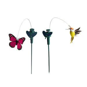 2 Stück Tanzender Solar Schmetterling Vogel Kolibri Solarstecker der Hingucker auf Ihrer Terrasse / Blumenbeet / Garten / Balkon / Blumenkopf