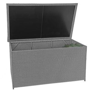 Poly-Rattan Kissenbox HWC-D88, Gartentruhe Auflagenbox Truhe  Basic grau, 80x160x94cm 950l