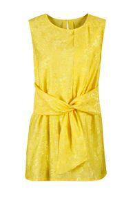 CRéATION L Damen Jacquard-Blusentop, gelb, Größe:48