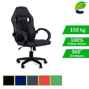 ecoMI - Gaming Stuhl Bürostuhl Schreibtischstuhl Computer Racing Sportsitz Chefsessel Drehstuhl - Schwarz