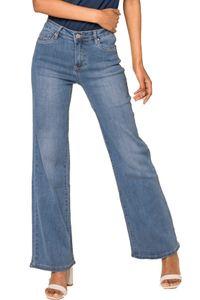 Damen High Waist Skinny Flare Jeans Retro Schlag Hose Vintage, Farben:Hellblau, Größe:40