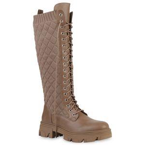 VAN HILL Damen Stiefel Schnürstiefel Strick Schnürer Gesteppte Schuhe 837677, Farbe: Khaki, Größe: 39