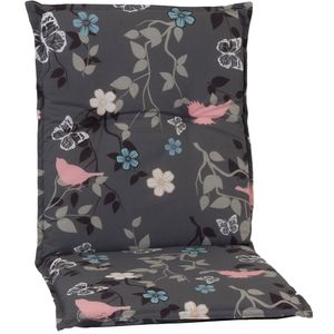 Gartenstuhl-Auflage Barcelona – Niedriglehnerauflage für Gartenstühle, Dessin:Vintage Flower, Anzahl:4er Set