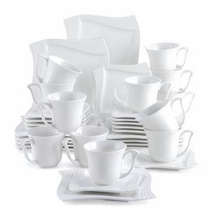 MALACASA, Serie Amparo, 36 teilig Set Cremeweiß Porzellan Kaffeeservice Dessertteller Kaffeetasse mit Untertasse