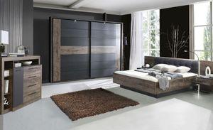 BLQL181B-N09 Bellevue Eiche Schlamm / Schwarz Bett Doppelbett Ehebett Schlafzimmerbett 180 x 200 cm