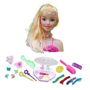 Mädchen Make Up Set Puppe Styling Kopf mit Kosmetik und Accessoires Spielset A EIN 27x10x23cm Mehrfarbig