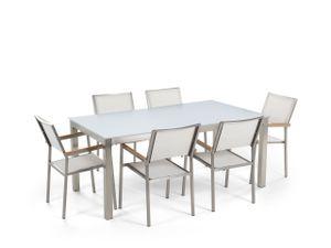 Gartenmöbel Set Weiß Sicherheitsglas Edelstahl Tisch 180 cm 6 Stühle Terrasse Outdoor Modern