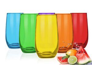 6 Bunte Trinkgläser 320ml Wassergläser Saftgläser Cocktailgläser Longdrinkgläser