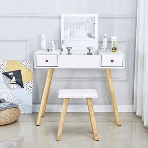 Meerveil Schminktisch,  mit beweglichem Spiegel und Lederhocker, Weiß