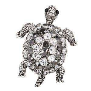 Silber Schildkröte Brosche mit Kristall verschönerungen Brosche für Mantel Hemd