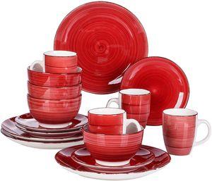 vancasso Bella Tafelservice Steinzeug, 16 teilig Geschirrset, Handbemaltes Kombiservice Set, Rot