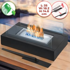 Jago® Tischkamin - Edelstahl,ethanol, für den Innen- und Außenbereich, inkl. Löschgerät, Schwarz - Feuerstelle, Glaskamin, Glasfeuer, Tischfeuer, Tisch-Dekofeuer