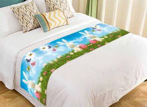 PKQWTM Osterhase farbige Eier Wiese Blue Sky Schmetterlinge Bed Runner Schlafzimmer Bettwäsche Nachbildung Bettwäsche Schal 50x240 cm