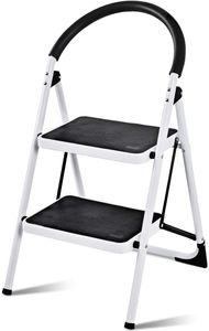 GOPLUS 2-Stufen  Klapptrittleitern, Stufenleiter Stahl mit Anti-Rutschmatte, Stahl-Klapptritt Stahl-Trittleiter Raumsparend Platzsparend,Stehleiter Klappsicherung  Leitern