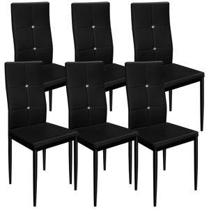 6x Deuba Esszimmerstuhl gepolstert mit Glitzersteinen schwarz- Esszimmerstühle Stuhl Küchenstuhl