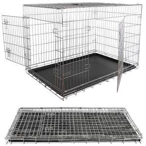 XXL Hundetransportbox Hundeklappkäfig silber