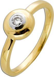 Solitär Ring Gelb Weissgold 585 massiv Diamant Brillant 0,10ct M/SI  Verlobungring  Vorsteckring 1