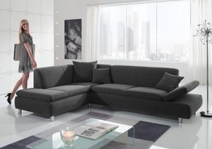 Max Winzer Prag Ecksofa links mit Sofa 2,5-Sitzer rechts - Farbe: grau - Maße: 272 cm x 189 cm x 76 cm; 25581-264-1643716-MET