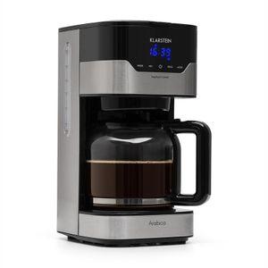 Klarstein Kaffeemaschine Arabica mit Permanentfilter ,  1,5 Liter Fassungsvermögen ,  EasyTouch Control ,  LCD-Display ,  transparenter Wassertank ,  wählbare Kaffeestärke ,  24-Stunden-Timer ,  900 W ,  Gummifüße ,  Edelstahl ,  silber/schwarz