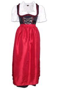 2-teiliges langes Dirndl Landhaus Kleid Dirndel ohne Bluse schwarz/mittelrot, Größe:34