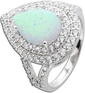 Opal Ring weiss blau Silber 925  Zirkonia tropfen 19