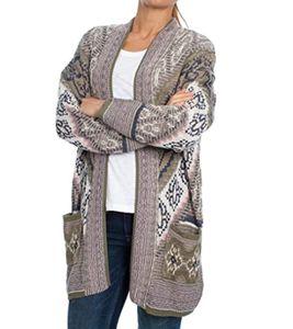 Pepe Jeans Kaley Strick-Jacke kuscheliger Damen Oversize-Cardigan mit Ethno-Muster Grün/Rosa, Größe:M/L