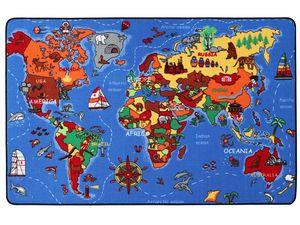 Spielteppich Kinderteppich WELTKARTE - 130 x 200 cm, Lernteppich für Jungen & Mädchen