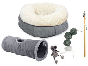 XXL Katzen-Kuschel-Starterset Katzentunnel, Bett, Spielangel und Plüschmaus grau