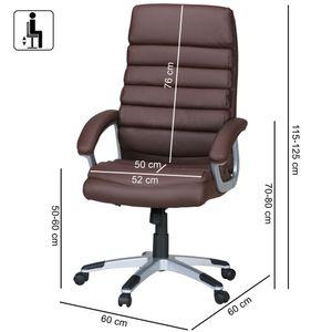 AMSTYLE Bürostuhl VALENCIA Kunstleder Braun ergonomisch mit Kopfstütze   Design Chefsessel Schreibtischstuhl mit Wippfunktion   Drehstuhl hohe Rücken-Lehne X-XL 120 kg