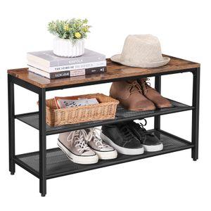 VASAGLE Schuhregal mit 2 Gitterablagen und Sitzfläche | Schuhbank Sitztruhe Schuhablage Metall | 80 x 30 x 44,5 cm LBS74X