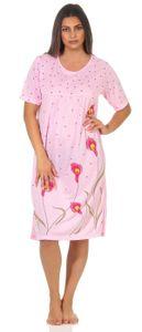 Damen Nachthemd Sleepshirt Nachtwäsche mit Muster, Rosa L