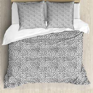 ABAKUHAUS Tierdruck Bettbezug Set für Einzelbetten, Monochrome Leopard, Milbensicher Allergiker geeignet mit Kissenbezug, 200 cm x 200 cm - 80 x 80 cm, Charcoal Grau und Weiß