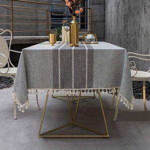 Einfache und moderne gestreifte Tischdecke mit Fransen, waschbarer Tischdecke aus Baumwolle und Leinen (140 x 220 cm)
