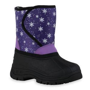 Mytrendshoe Kinder Warm Gefütterte Winter Boots Bequeme Stiefel Prints Schuhe 836184, Farbe: Lila Helllila Schwarz Muster, Größe: 30