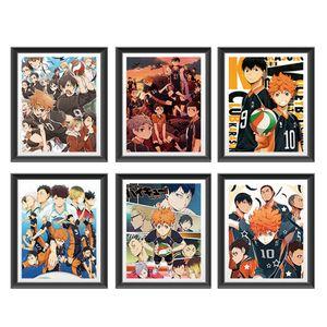 6 Stück / Set Haikyuu Poster - Japan Anime Poster Comic Poster Cartoon Poster HD Anime Kunstdrucke für Home Wall Decor 20X25cm -