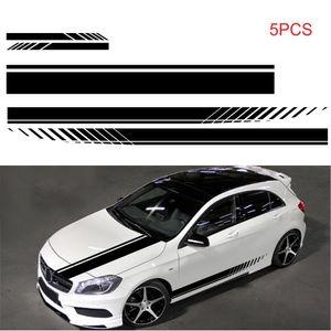 5 PCS Universal Black Car Racing Karosserie Seitenstreifenrock Dachhaube Aufkleber Aufkleber fuer alle Autos PVC Aufkleber