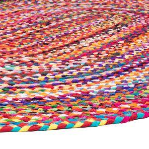 Teppich Morgenland Sisal Jute Oval Naturfaser Streifen Kurzflor Dünn Flach Boho, Größe:250 x 150 cm Oval, Farbe:Mehrfarbig