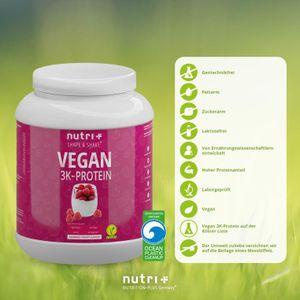 nutri+ veganes 3K Proteinpulver, 1000 g Dose