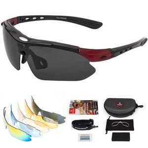 Arteesol Fahrradbrille Polarisiert Brille Sonnenbrille Sportbrillen UV400 Schutz Rotschwarz