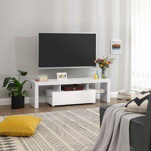 VASAGLE Lowboard mit LED 140 x 35 x 45 cm | TV-Schrank bis 60 Zoll Fernsehtisch Fernsehschrank | glänzend weiß LTV14WT