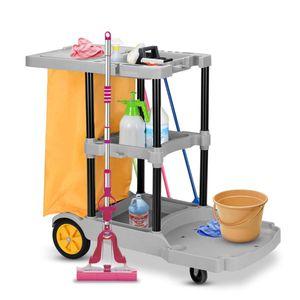 COSTWAY Reinigungswagen mit Ablagen, Putzwagen Hotel, Fahrwagen Wischwagen Systemwagen mit Abfallsack