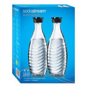 SodaStream Glaskaraffe Duo Pack mit schwarzem Deckel 2 Stück je 600ml