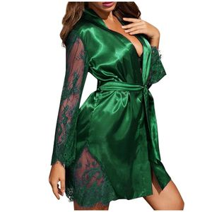 New Satin Silk Pyjamas Damen Dessous Roben Unterwäsche Nachtwäsche Sexy Größe:XL,Farbe:Grün