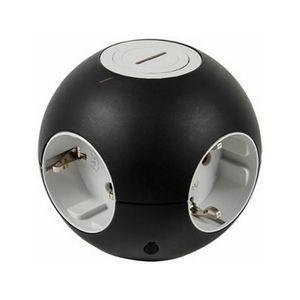 REV Kugelsteckdose PowerGlobe mit Schalter, Schutzkontakt, versch. Farben Farbe: Schwarz-grau