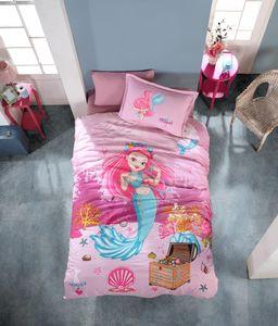 Kinder Bettwäsche 135x200 cm, Pink, 3 teilig Set, 100% Baumwolle, Mit Reißverschluss, Seemädchen
