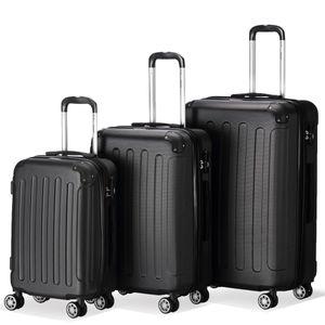 Flexot 2045 3er Reisekoffer Set - Farbe Schwarz Größe M L XL Kofferset Hartschale Trolley Koffer